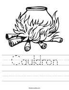 Cauldron Handwriting Sheet