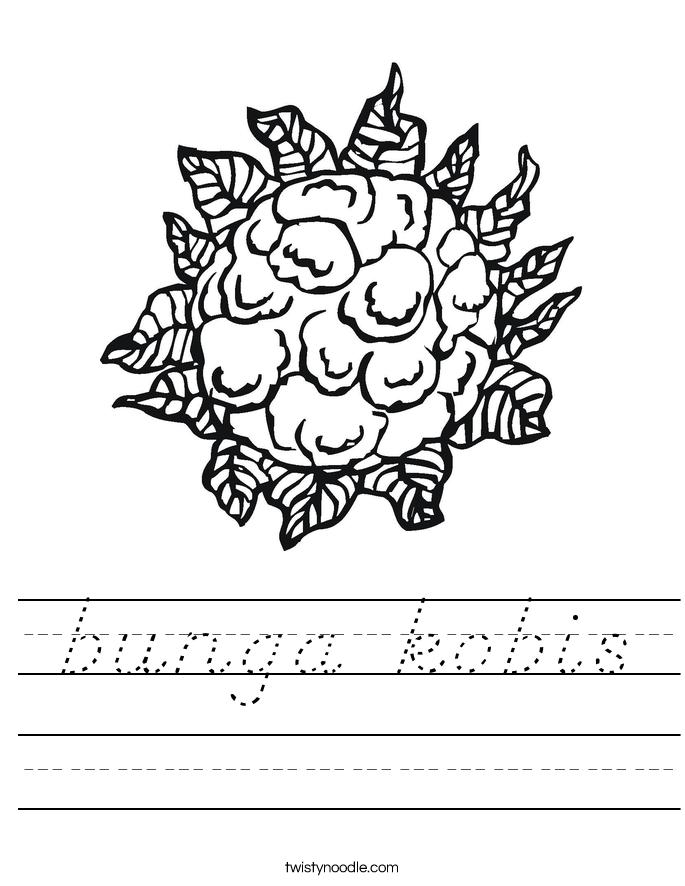 bunga kobis Worksheet