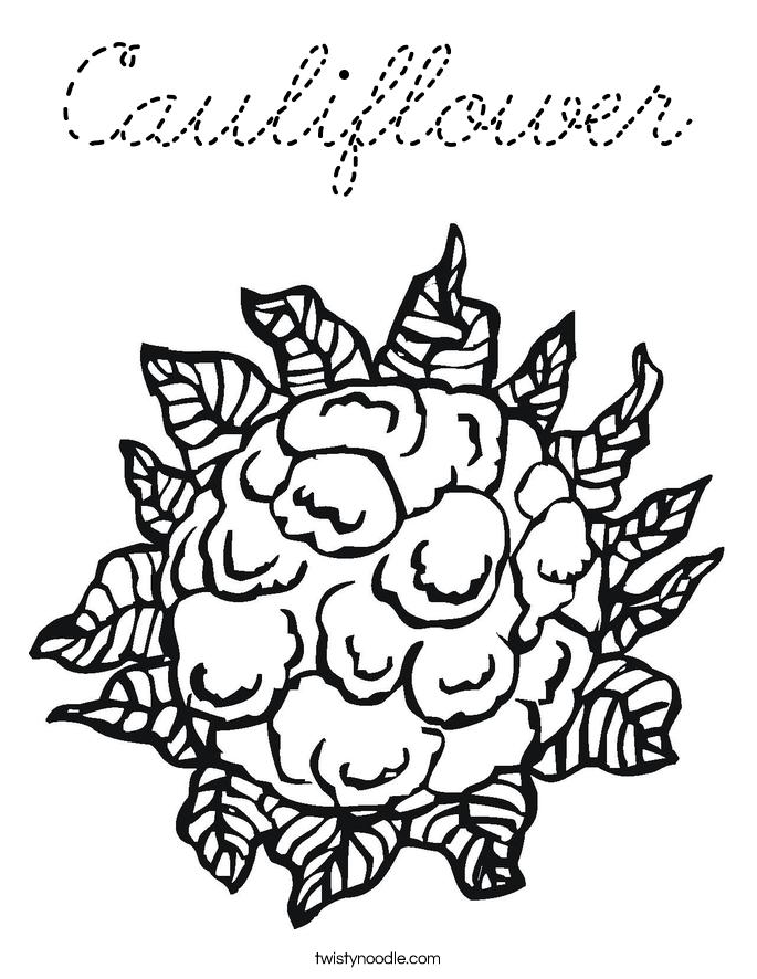 Cauliflower coloring page cursive twisty noodle for Cursive coloring pages