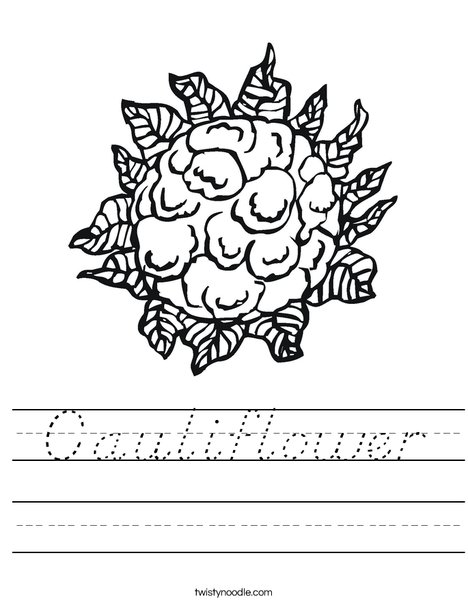 Cauliflower Worksheet
