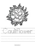 Cauliflower Worksheet
