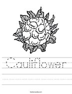 Cauliflower Handwriting Sheet