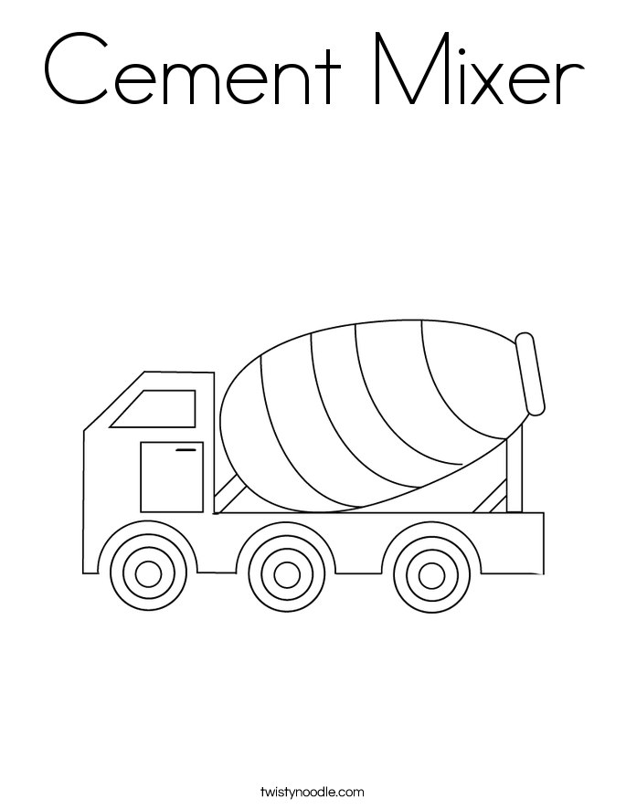 Cement Truck Drawing Cement mixer coloring page.