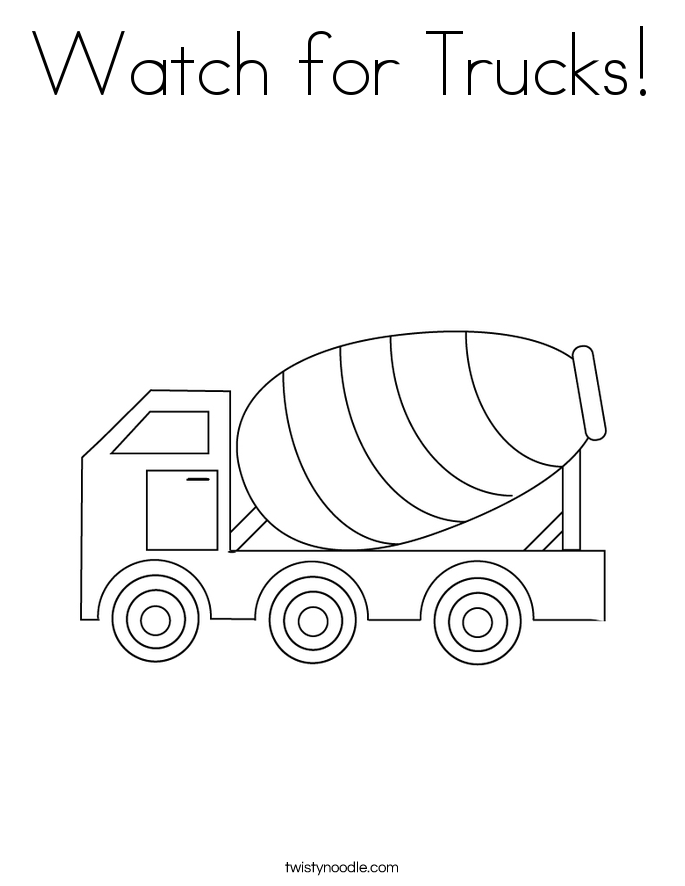Watch for Trucks! Coloring Page