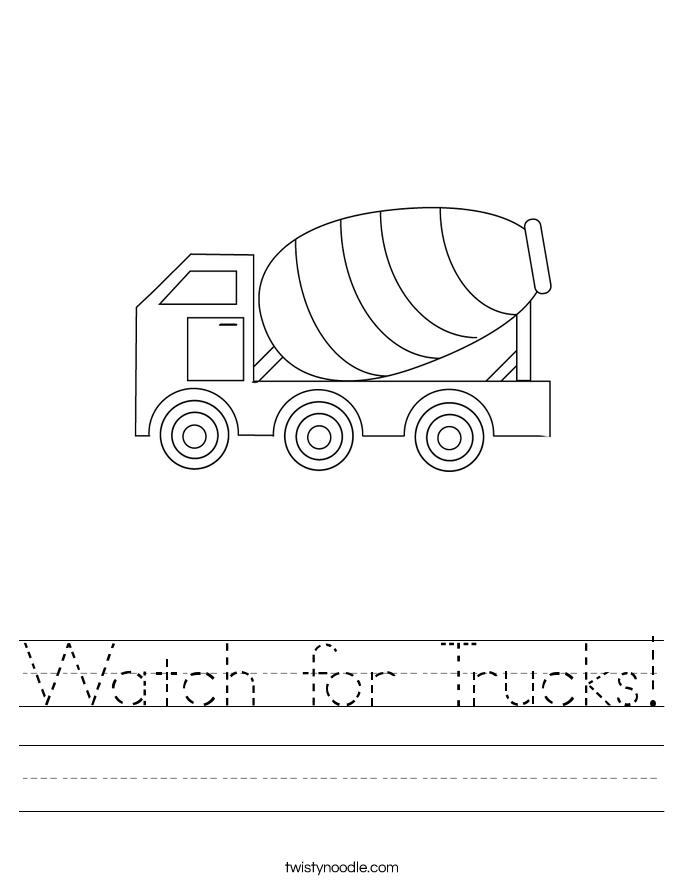 Watch for Trucks! Worksheet