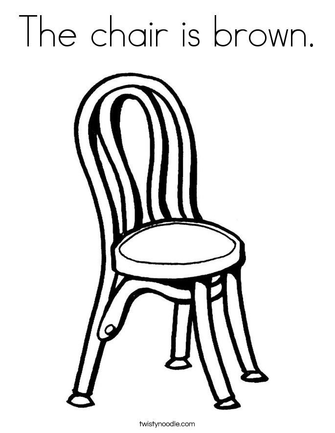 The chair is brown. Coloring Page