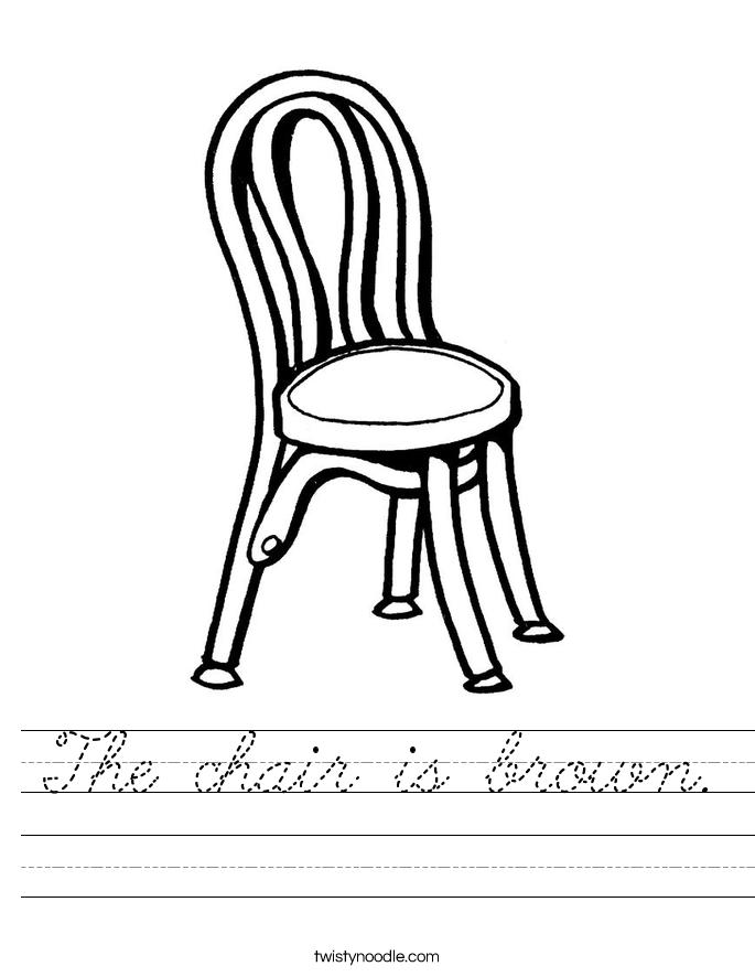 The chair is brown. Worksheet