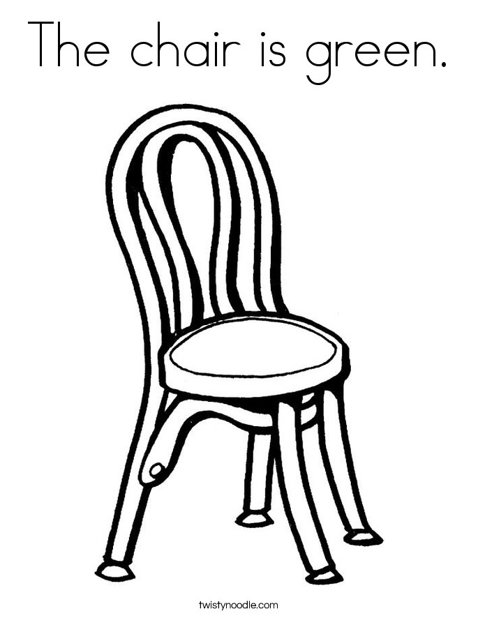 The chair is green. Coloring Page
