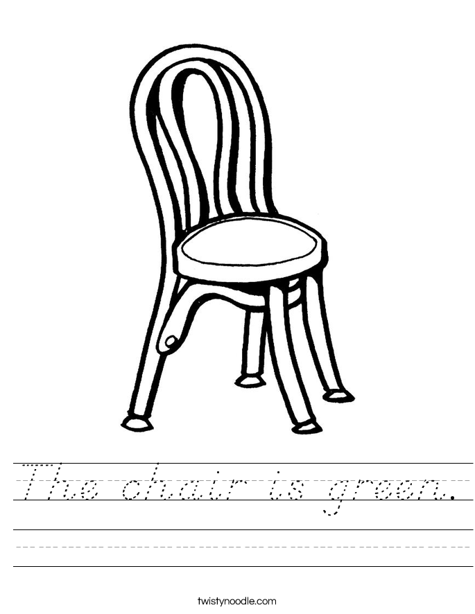 The chair is green. Worksheet