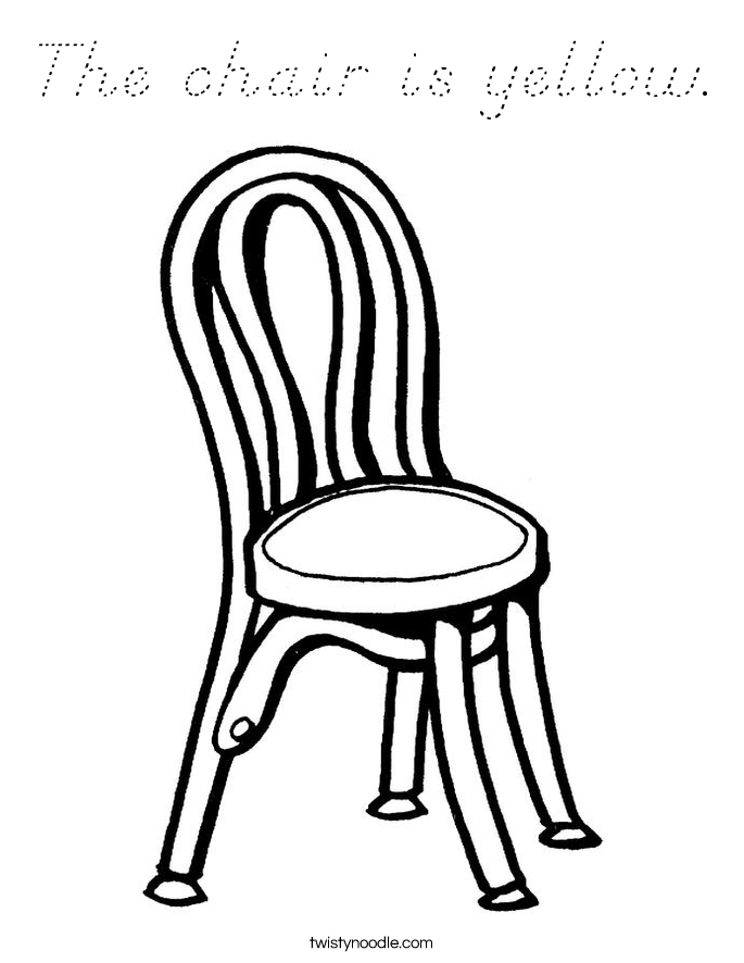 The chair is yellow. Coloring Page