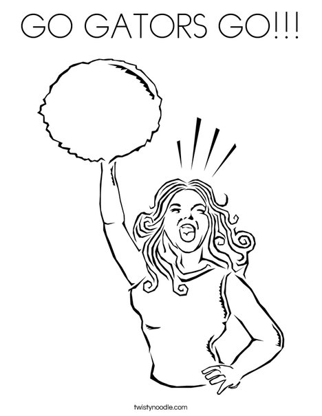 Cheerleader Yelling Coloring Page
