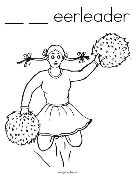 Cheerleader with Pigtails Coloring Page