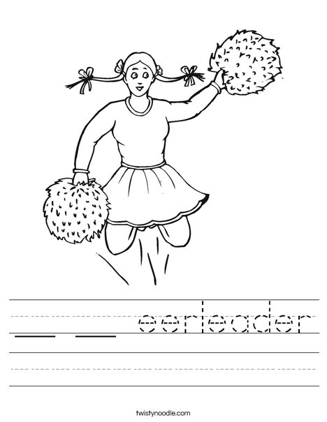Cheerleader with Pigtails Worksheet