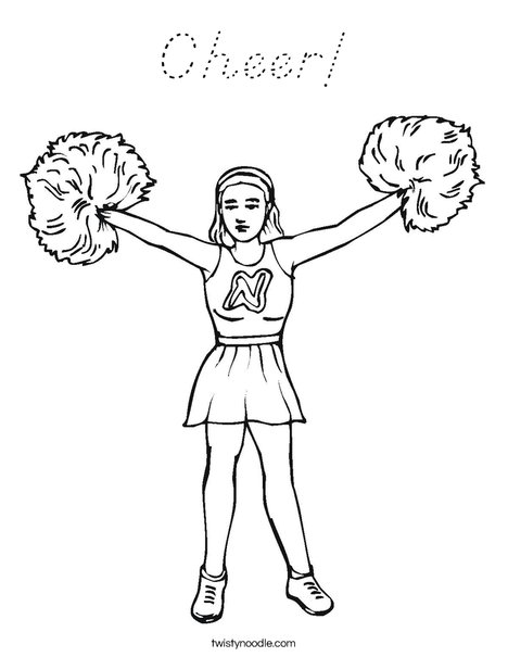 Cheerleader with Pom Poms Coloring Page
