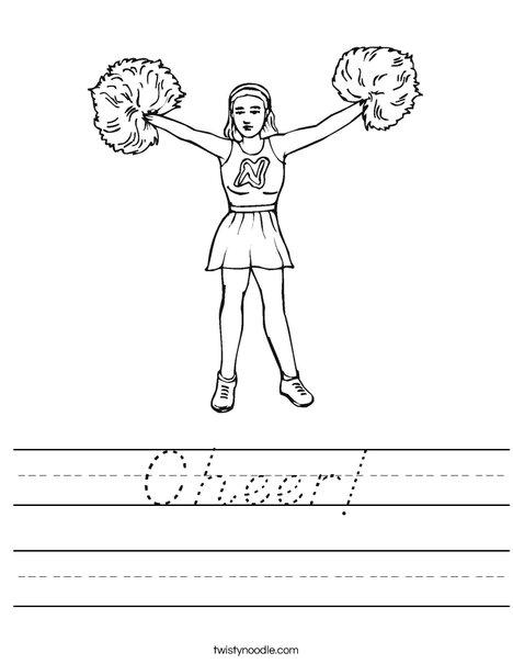 Cheerleader with Pom Poms Worksheet