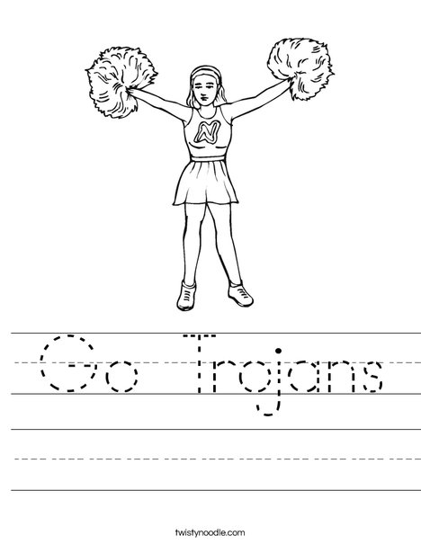 Cheerleader with Pom Poms Worksheet
