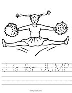 J is for JUMP Handwriting Sheet