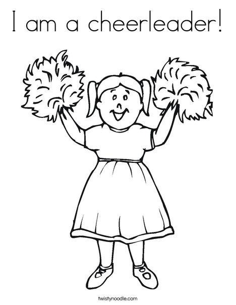 I am a cheerleader Coloring Page - Twisty Noodle