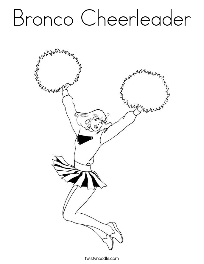 Bronco Cheerleader Coloring Page