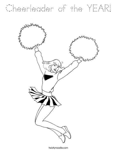 Cheerleader Jumping with Pom Poms Coloring Page