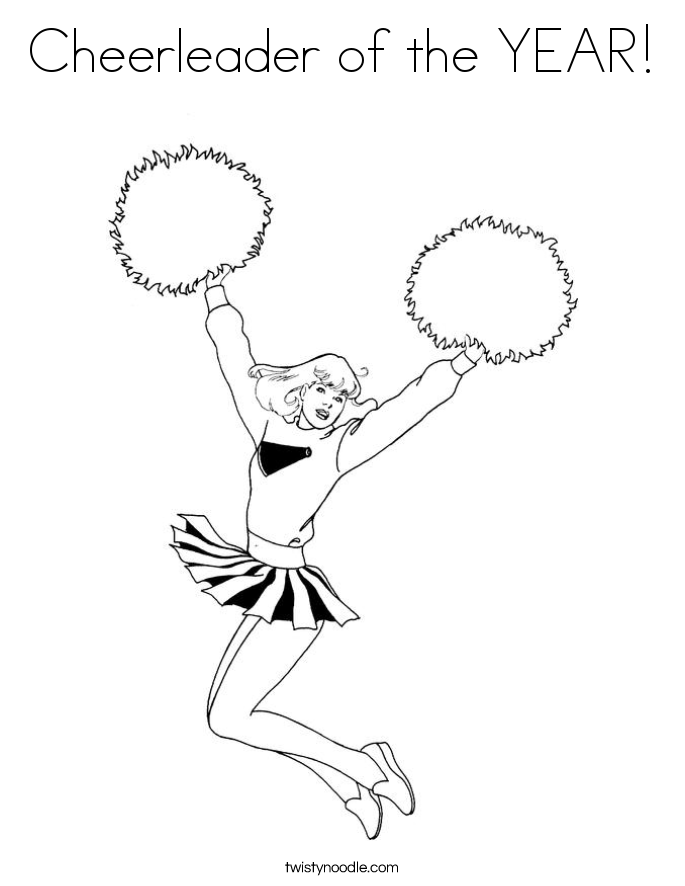 Cheer Jump Color Page - Worksheet & Coloring Pages