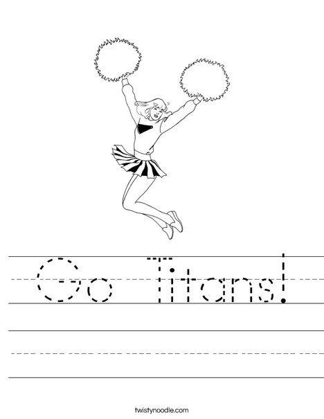 Cheerleader Jumping with Pom Poms Worksheet