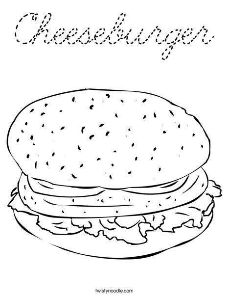 Cheeseburger Coloring Page