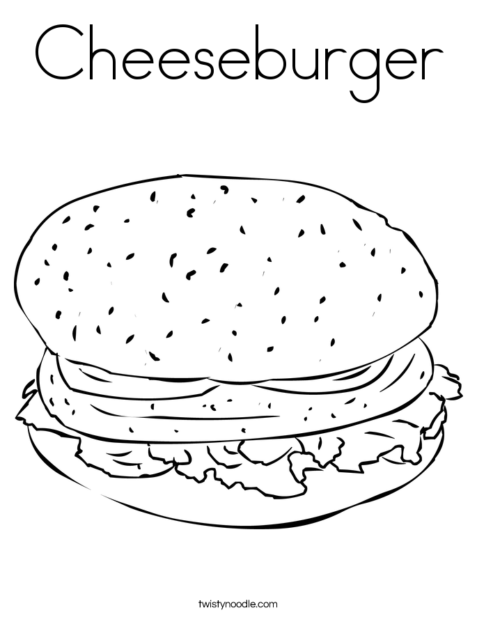 Cheeseburger Coloring Page Twisty Noodle