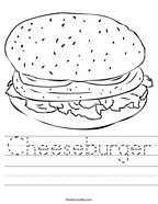 Cheeseburger Handwriting Sheet