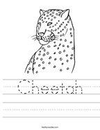 Cheetah Handwriting Sheet