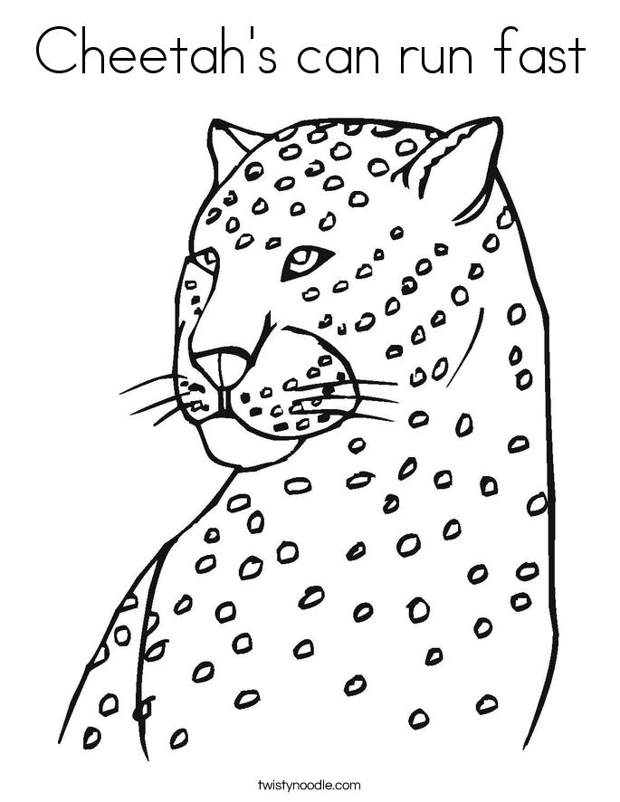 Cheetah's can run fast Coloring Page