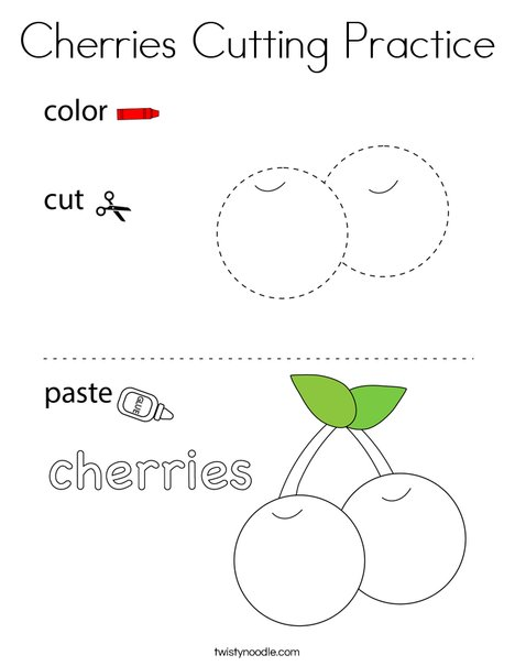 Cherries Cutting Practice Coloring Page