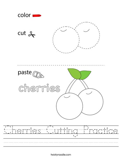 Cherries Cutting Practice Worksheet