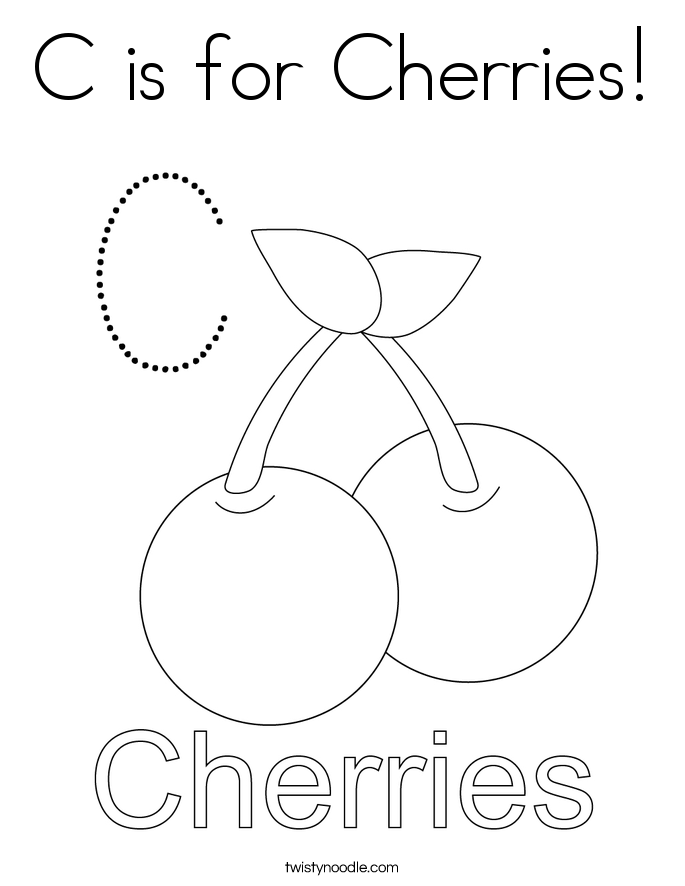 C is for Cherries! Coloring Page