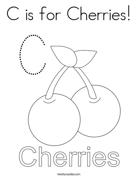 Cherries starts with C! Coloring Page