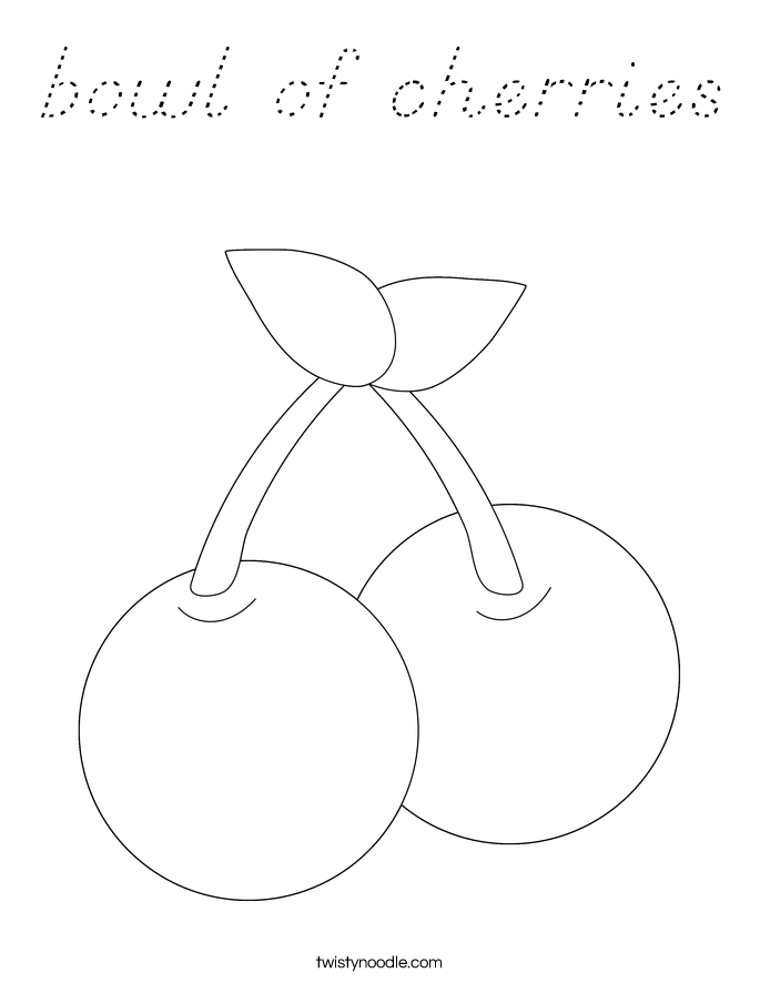 bowl of cherries Coloring Page