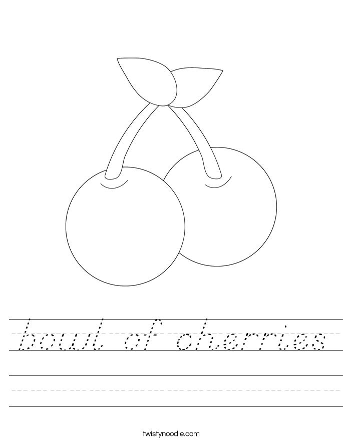 bowl of cherries Worksheet