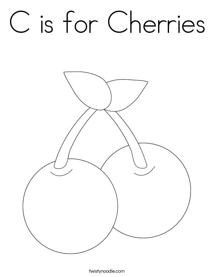 C is for Cherries Coloring Page