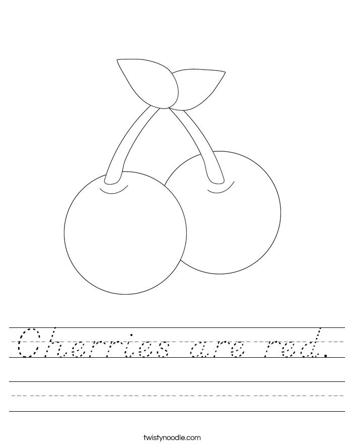 Cherries are red. Worksheet