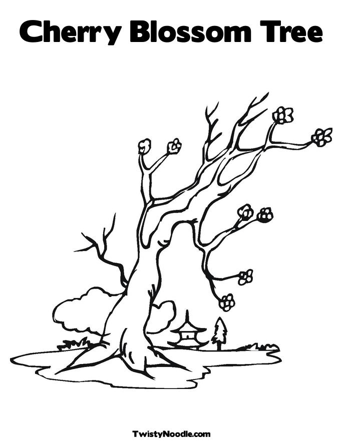 Free coloring pages of chinese fan template for Cherry blossom tree coloring page