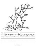 Cherry Blossoms Handwriting Sheet