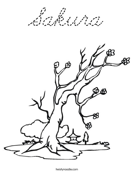 Cherry Blossom Tree Coloring Page