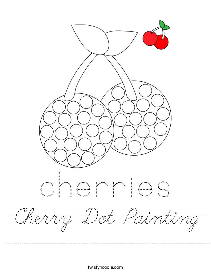 Cherry Dot Painting Worksheet