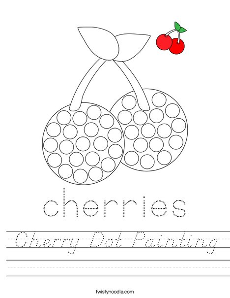 Cherry Dot Painting Worksheet