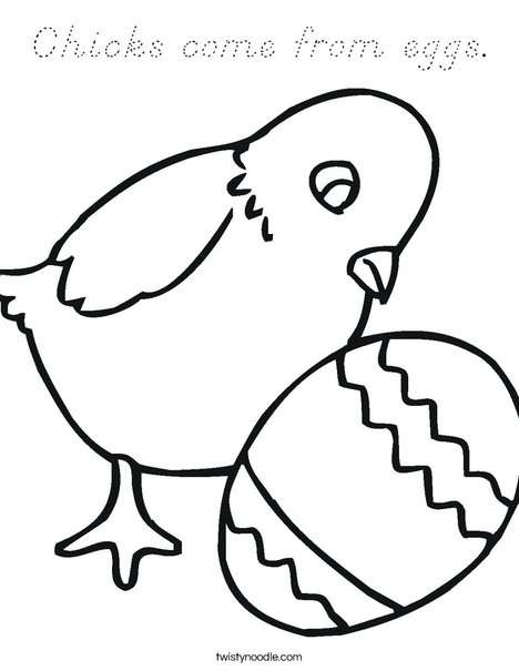 Chicks Come From Eggs Coloring Page D Nealian Twisty