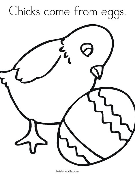 Chick and Egg Coloring Page