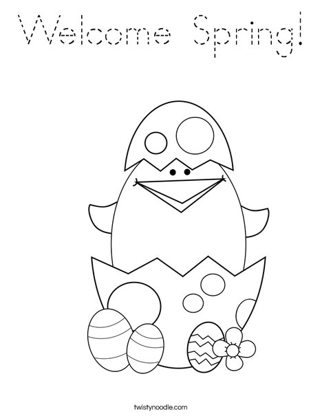 Welcome spring coloring page tracing twisty noodle for Welcome spring coloring pages