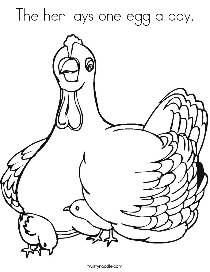 The hen lays one egg a day. Coloring Page