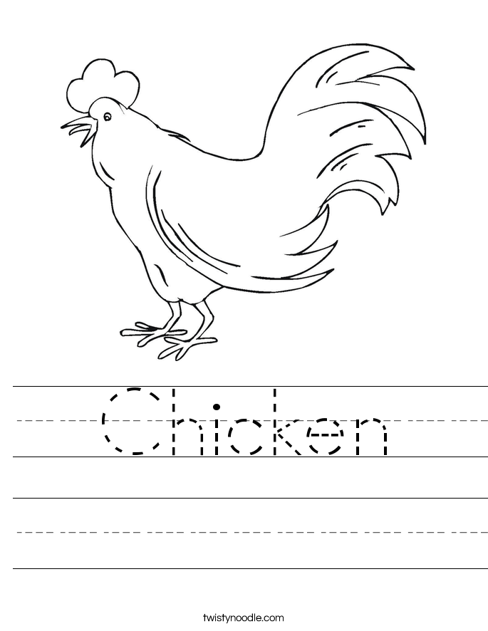 Chicken Worksheet Twisty Noodle