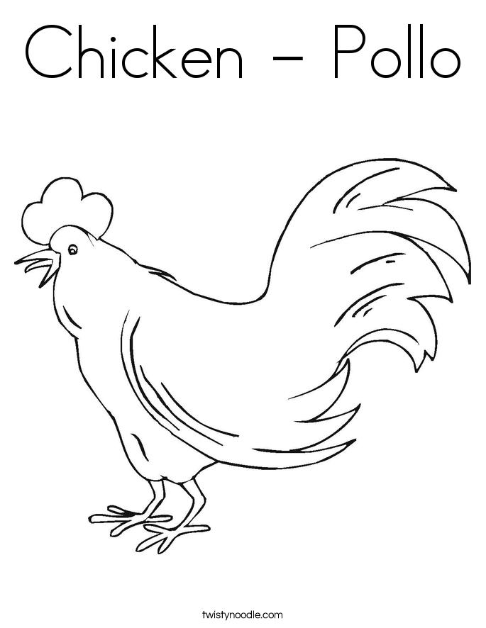 Chicken - Pollo Coloring Page